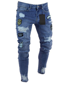Men's Ripped jeans Badge Denim