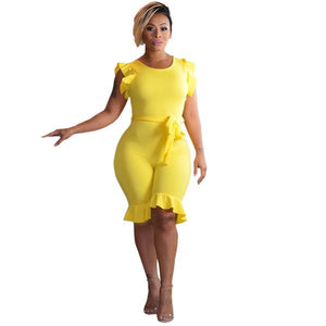 Woman's Office Lady Ruffle Tunic Party Bodycon Slim Overalls Jumpsuit Outfit