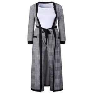 Bazin 3 Piece Big Elastic Wide-Legged Striped Pants with Long Coat Suit