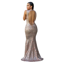 Women's Sequin Hollow Out Long Bodycon O-neck Silver Maxi Club Party Dress