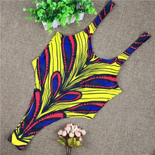 African Style One Piece Monokini High Cut Backless Bathing Swimsuit