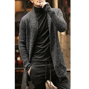 Men's Knitted Cardigan Long Casual Slim Fit Trench Knitwear Streetwear sweater
