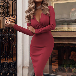 Women's Deep V-neck Wrap Long Sleeve Solid Bodycon Knee-Length Elegant Bodycon Pencil Dress