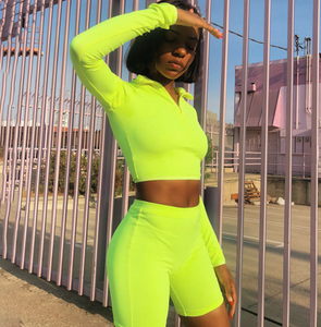 Women's Fluorescence Fitness Two Piece Full Sleeve Zipper Turtleneck Tops And High Waist Shorts Suit