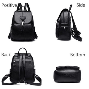 Multifunction Women Leather Rucksack