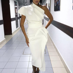 Woman's Elegant Sexy Solid White Cocktail Midi Asymmetrical One Shoulder Ruched Irregular Formal Party Dress