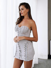 Sexy Strapless Lace Up Leather Suede Party Dress