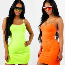 Cotton spaghetti straps slash neck high waist solid club dress