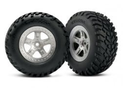 Traxxas TRA5873   Tires & wheels, assembled, glued (SCT satin chrome, beadlock style wheels, SCT off-road racing tires, foam inserts)