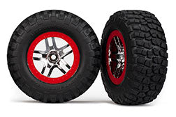 Traxxas TRA6873R   Tires & wheels, assembled, glued (S1 ultra-soft, off-road racing compound) (SCT Split-Spoke chrome, red beadlock style wheels, BFGoodrich® Mud-Terrain™ T/A® KM2 tires, foam inserts) (2) (4WD f/r, 2WD rear)