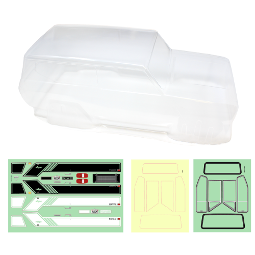 Redcat Racing RER11396 International Harvester Scout II Clear Body with body sticker sheet, window trim sticker sheet & window mask sticker sheet.