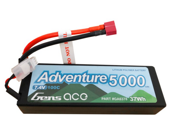 Gens Ace - GA6378 -  Adventure 5000mAh 7.4V 100C 2S1P HardCase Lipo Battery Pack 24# with Deans Plug - Race Dawg RC