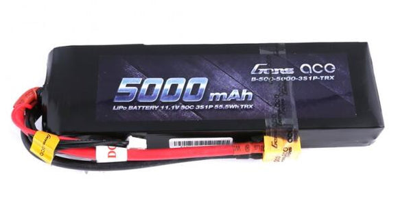 Gens ace 11.1V 50C 3S 5000mAh Lipo Battery Pack with XT60 Plug - GEA50003S50X6 - Race Dawg RC
