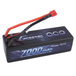 Gens ace 7000mAh 7.4V 50C 2S2P HardCase Lipo Battery Pack 10# with 4.0mm bullet to Deans plug