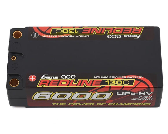 Gens Ace Redline 2S 130C LiHV Battery Pack w/5mm Bullets (7.6V/6000mAh) - Race Dawg RC