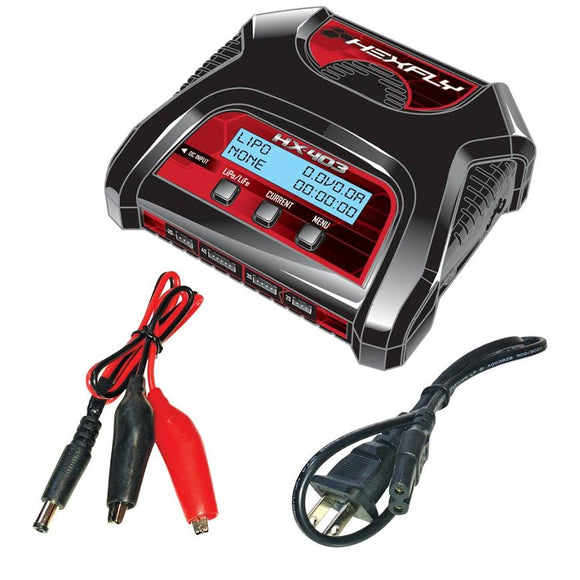 Hexfly HX-403 Battery Charger (Charges - 2s*2/3s/4s) - Race Dawg RC