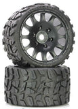 PHBPHT1141R  - Raptor Belted Monster Truck Wheels/Tires (pr.), Pre-mounted, Race Soft Compound 17mm Hex
