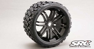 Sweep Racing SRC0002B Monster Truck Terrain Crusher Belted tire preglued on Black wheel 2pc set