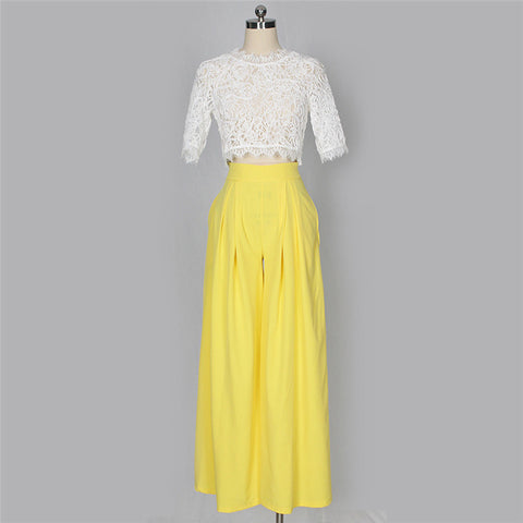 LACE CROP WIDE LEG PANTS SET - B ANN'S BOUTIQUE