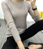 FITTED SWEATER WITH CABLEKNIT SLEEVES - B ANN'S BOUTIQUE
