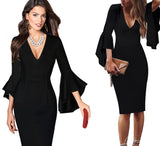 SHEATH DRESS WITH FLARED SLEEVES - B ANN'S BOUTIQUE