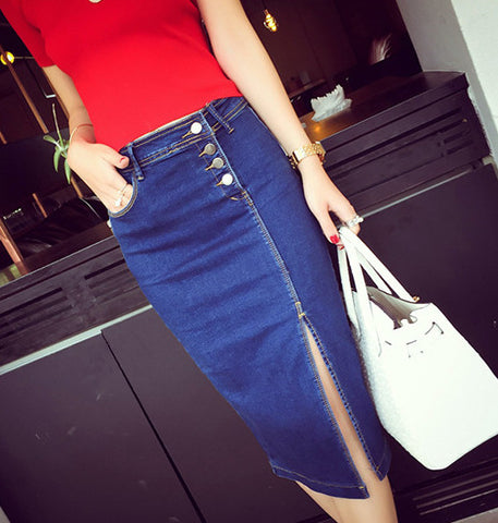 THE DENIM BUTTON-UP SPLIT SKIRT
