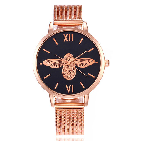 FLORAL & FRIENDS METAL MESH BAND WATCH - B ANN'S BOUTIQUE