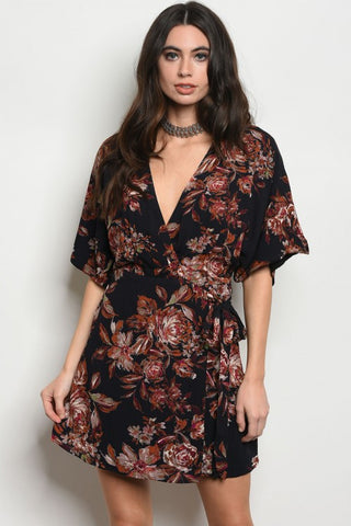BLACK FLORAL WRAP DRESS - B ANN'S BOUTIQUE