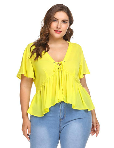 ROXANNE'S RUFFLE LACE-UP TOP - B ANN'S BOUTIQUE