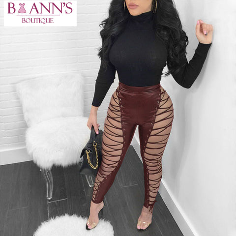 A LITTLE BIT OF LEATHER (NOT) LACE-UP PANTS - B ANN'S BOUTIQUE