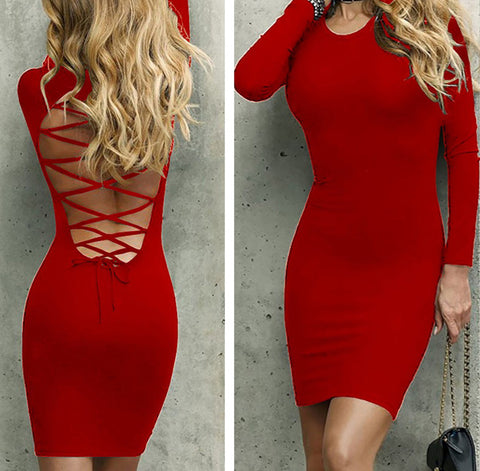 BACK LACE-UP MINI-DRESS - B ANN'S BOUTIQUE