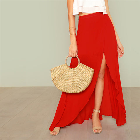 RED ALERT SPLIT SKIRT - B ANN'S BOUTIQUE