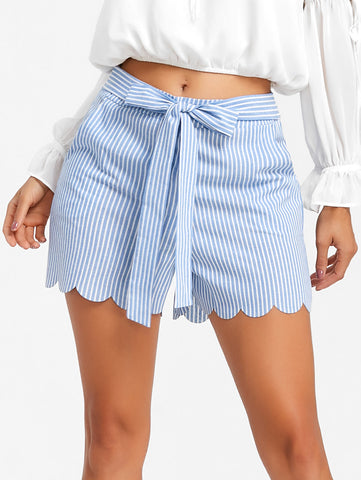 SCALLOP STRIPED IS JUST RIGHT SHORTS
