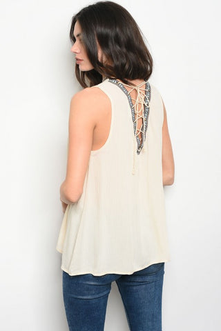 CREAM ON TOP BACK LACE-UP - B ANN'S BOUTIQUE