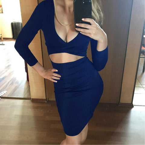 CRISS-CROSS HOLLOWED FRONT BANDAGE DRESS - B ANN'S BOUTIQUE