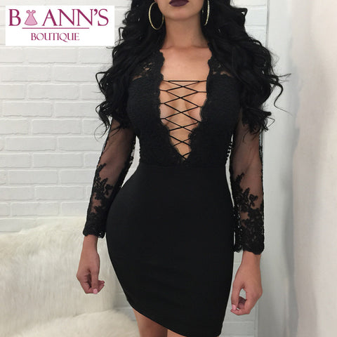 BLACK LACE & SHEER MINI DRESS - B ANN'S BOUTIQUE