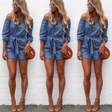 DENIM OFF-THE-SHOULDER ROMPER - B ANN'S BOUTIQUE