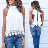 CROTCHETD LACE & BOW HALTER TOP - B ANN'S BOUTIQUE