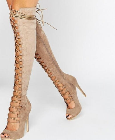 GLADIATOR PUMP LACE-UP OVER-THE-KNEE BOOT - B ANN'S BOUTIQUE