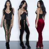 VELVET LACE-UP PANTS - B ANN'S BOUTIQUE