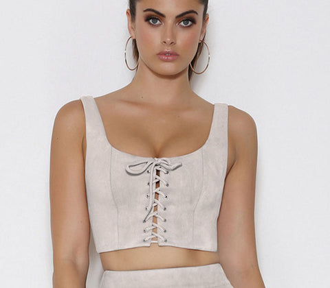 SUEDE LACE-UP TOP - B ANN'S BOUTIQUE