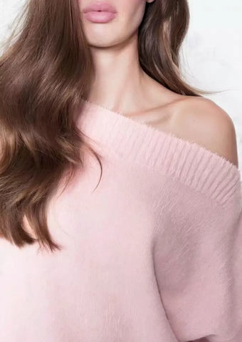 FUZZY OFF-THE SHOULDER SWEATER - B ANN'S BOUTIQUE