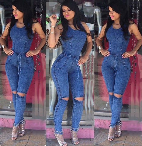 FITTED DENIM JUMPSUIT - B ANN'S BOUTIQUE