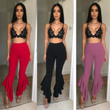 HIGH WAIST FLARED RUFFLE ANKLE PANTS - B ANN'S BOUTIQUE