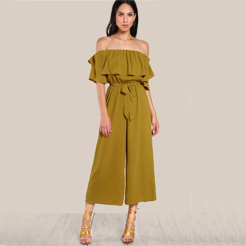 RUFFLED DELIGHT ANKLE PANTS JUMPSUIT - B ANN'S BOUTIQUE