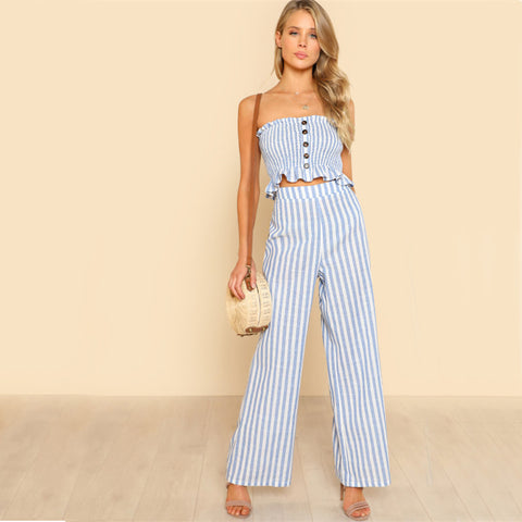 BLUE SKIES STRIPED RIGHT PANTS SET - B ANN'S BOUTIQUE
