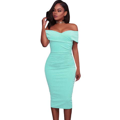 RUCHED OFF-THE-SHOULDER  MIDI DRESS - B ANN'S BOUTIQUE