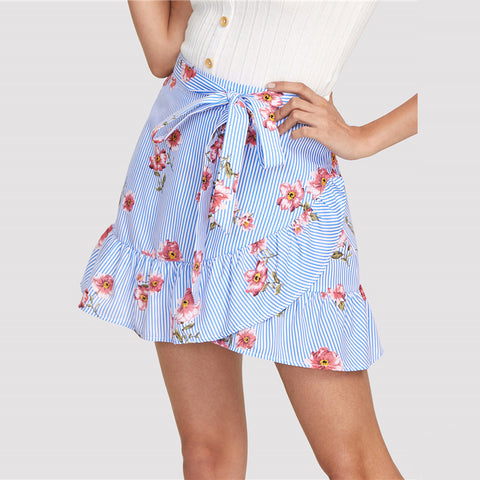 STRIPED FLORAL RUFFLE MINI SKIRT - B ANN'S BOUTIQUE