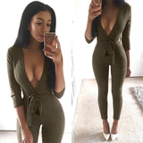 FITTED JUMPSUIT WITH SASH BELT - B ANN'S BOUTIQUE