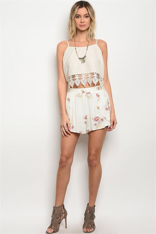 WHITE FLORAL SHORTS - B ANN'S BOUTIQUE